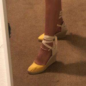 Soludos Yellow Espadrille Wedges